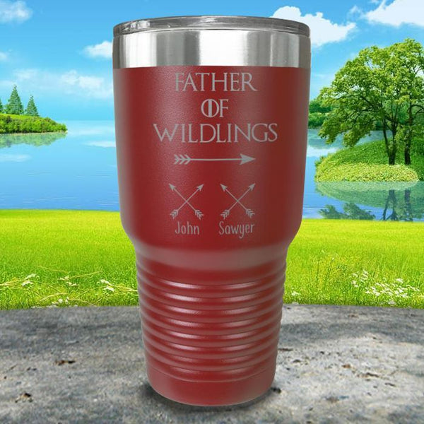 Father Of Wildlings (CUSTOM) With Child's Name Engraved Tumblers Tumbler ZLAZER 30oz Tumbler Maroon