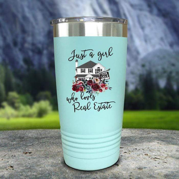 Just A Woman Who Loves Real Estate Color Printed Tumblers Tumbler Nocturnal Coatings 20oz Tumbler Mint