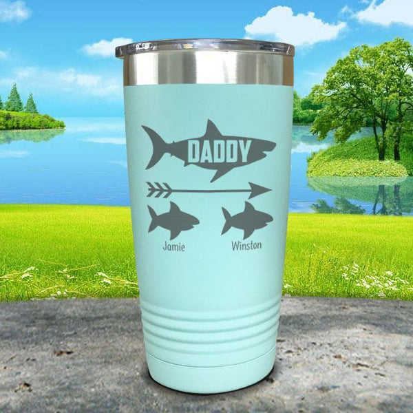 Daddy Shark (CUSTOM) With Child's Name Engraved Tumblers Tumbler Southland 20oz Tumbler Mint