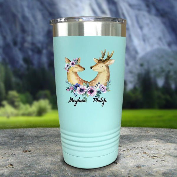 Buck and Doe Personalized Color Printed Tumblers Tumbler Nocturnal Coatings 20oz Tumbler Mint