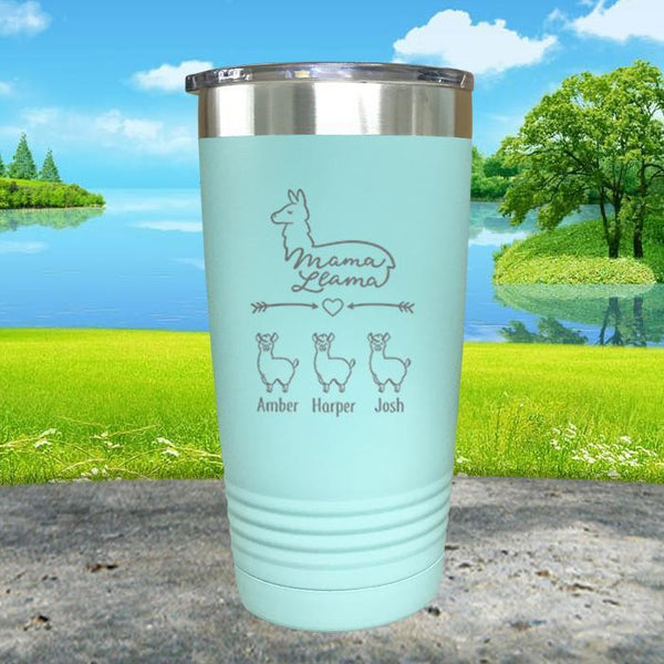 Mama Llama (CUSTOM) With Child's Name Engraved Tumblers Tumbler ZLAZER 20oz Tumbler Mint
