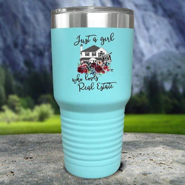 Just A Woman Who Loves Real Estate Color Printed Tumblers Tumbler Nocturnal Coatings 30oz Tumbler Mint