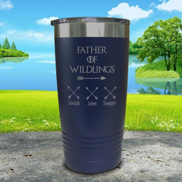 Father Of Wildlings (CUSTOM) With Child's Name Engraved Tumblers Tumbler ZLAZER 20oz Tumbler Navy