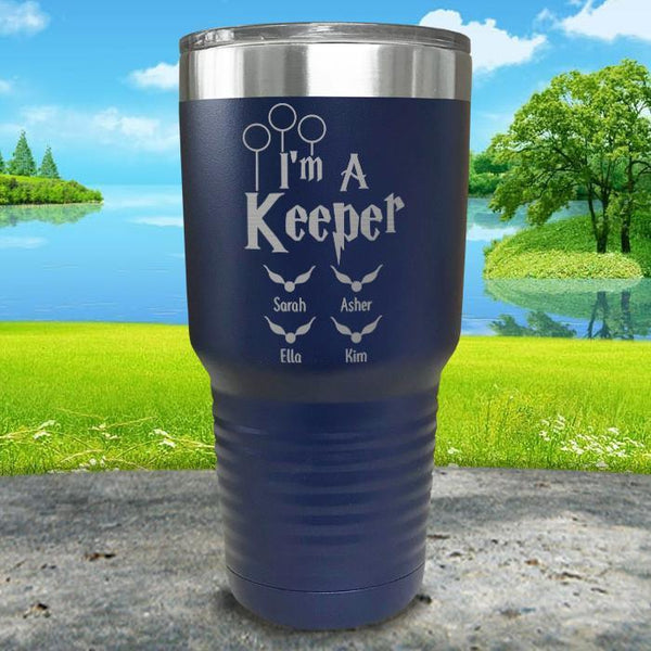 I'm A Keeper (CUSTOM) With Child's Name Engraved Tumblers Tumbler ZLAZER 30oz Tumbler Navy