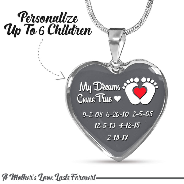 Personalized Mom Dreams Came True Premium Necklaces Jewelry Lemons Are Blue Heart Necklace Silver