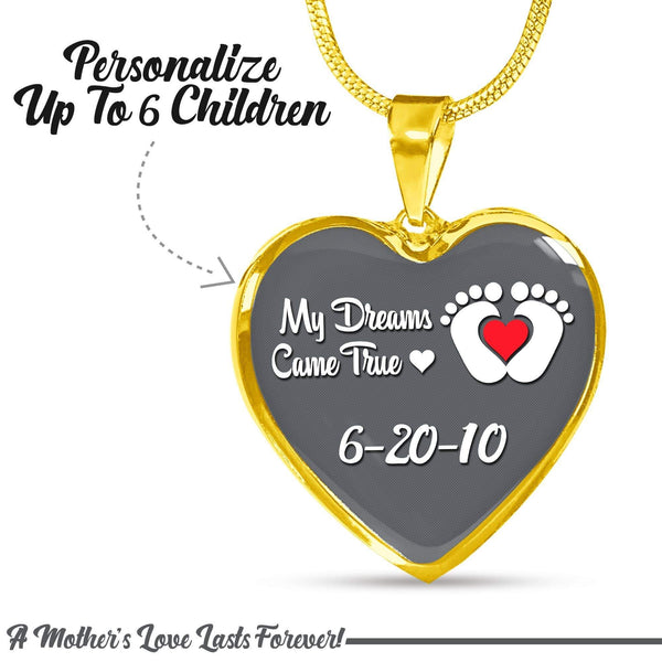 Personalized Mom Dreams Came True Premium Necklaces Jewelry Lemons Are Blue Heart Necklace Gold