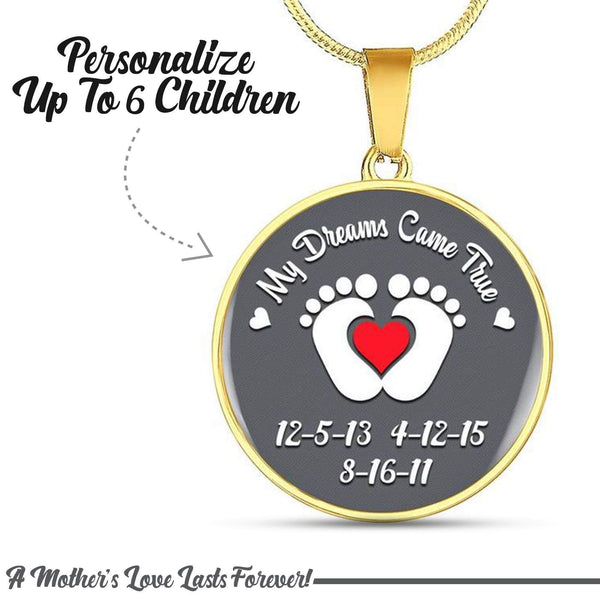 Personalized Mom Dreams Came True Premium Necklaces Jewelry Lemons Are Blue Circle Necklace Gold