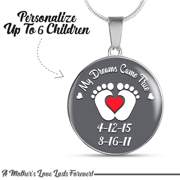 Personalized Mom Dreams Came True Premium Necklaces Jewelry Lemons Are Blue Circle Necklace Silver