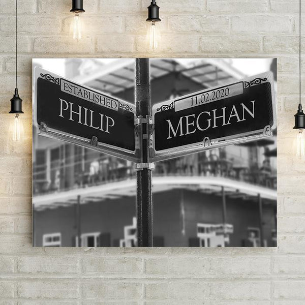 New Orleans Street Sign Personalized Premium Canvas-LemonsAreBlue