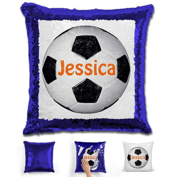Soccer Personalized Magic Sequin Pillow Pillow GLAM Blue Orange
