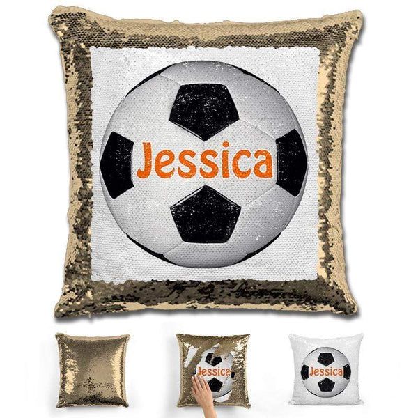 Soccer Personalized Magic Sequin Pillow Pillow GLAM Gold Orange