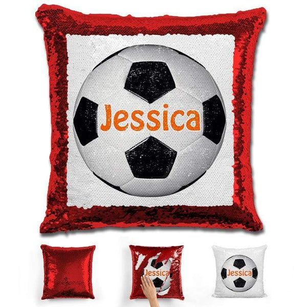 Soccer Personalized Magic Sequin Pillow Pillow GLAM Red Orange