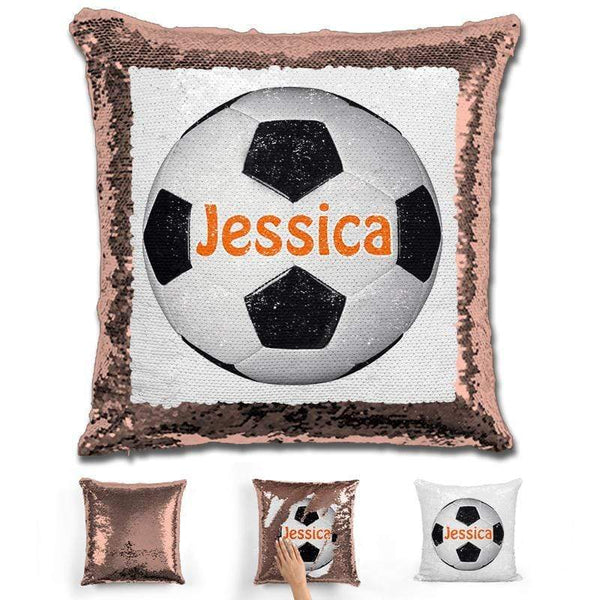 Soccer Personalized Magic Sequin Pillow Pillow GLAM Rose Gold Orange