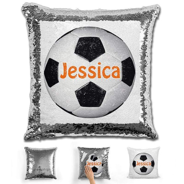 Soccer Personalized Magic Sequin Pillow Pillow GLAM Silver Orange