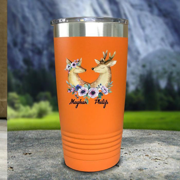 Buck and Doe Personalized Color Printed Tumblers Tumbler Nocturnal Coatings 20oz Tumbler Orange