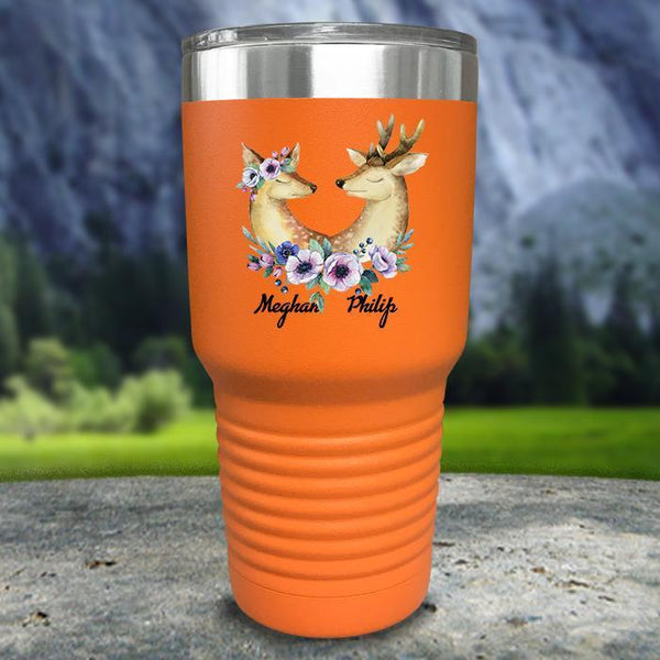 Buck and Doe Personalized Color Printed Tumblers Tumbler Nocturnal Coatings 30oz Tumbler Orange