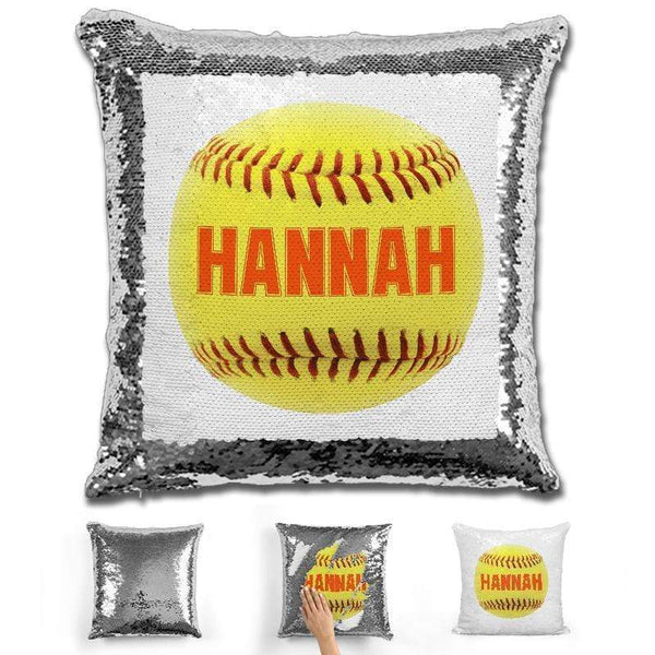 Softball Personalized Magic Sequin Pillow Pillow GLAM Silver Orange