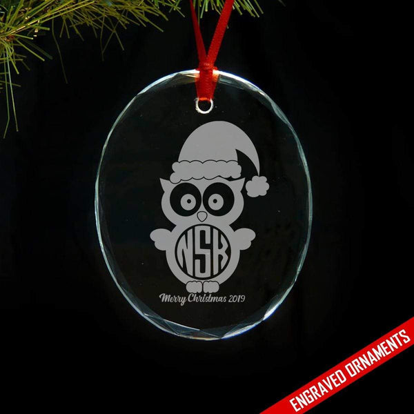 Owl CUSTOM Monogram Engraved Glass Ornament ZLAZER Oval Ornament