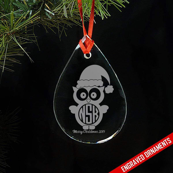 Owl CUSTOM Monogram Engraved Glass Ornament ZLAZER Tear Drop Ornament