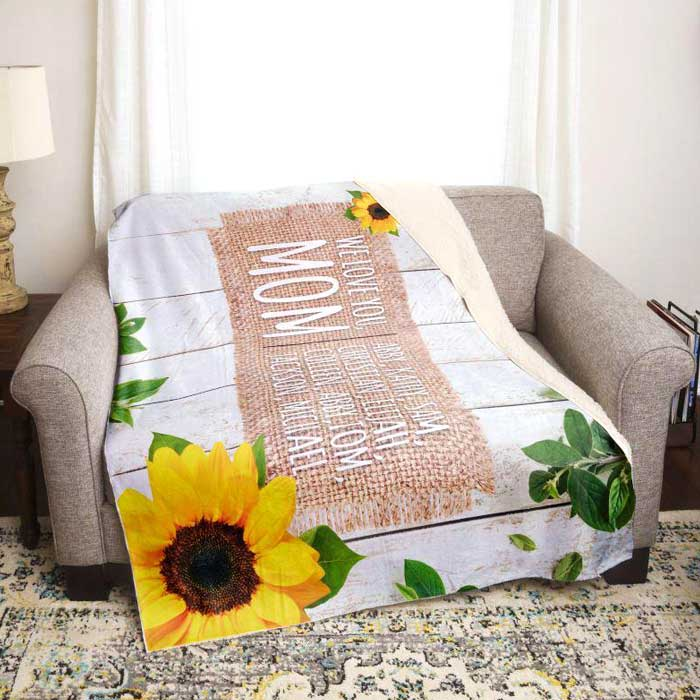 Sunflower blanket personalized for mom or grandma with distressed shiplap and kids names. Mother's Day Gift. Custom sherpa throw blanket for mom.