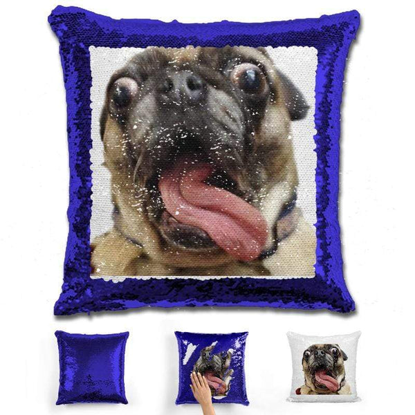 Pet Photo Personalized Magic Sequin Pillow Pillow GLAM Blue
