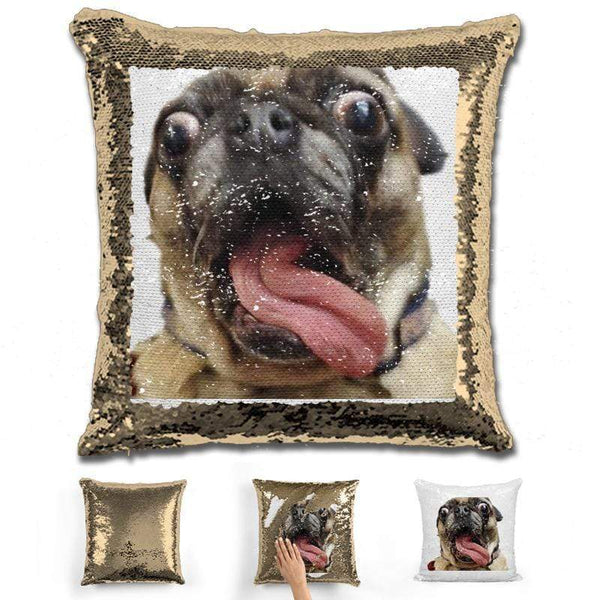 Pet Photo Personalized Magic Sequin Pillow Pillow GLAM Gold