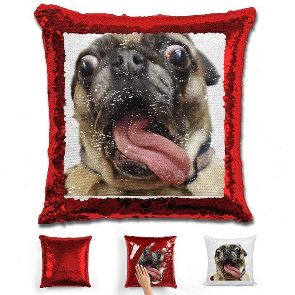 Pet Photo Personalized Magic Sequin Pillow Pillow GLAM Red
