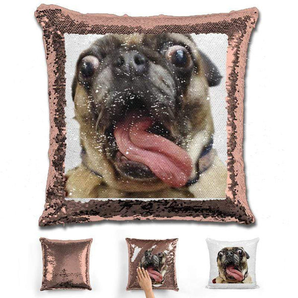 Pet Photo Personalized Magic Sequin Pillow Pillow GLAM Rose Gold
