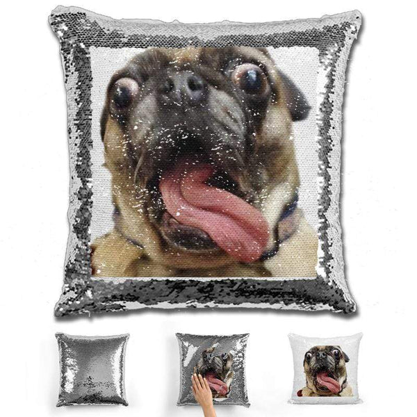 Pet Photo Personalized Magic Sequin Pillow Pillow GLAM Silver
