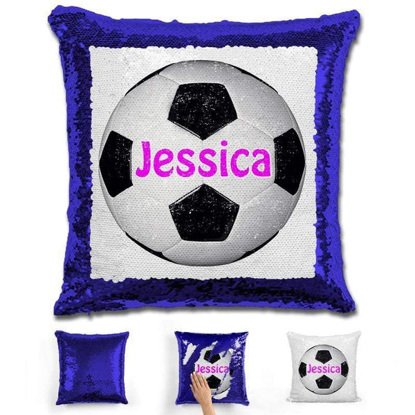 Soccer Personalized Magic Sequin Pillow Pillow GLAM Blue Pink