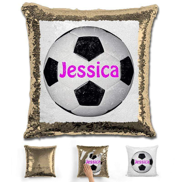 Soccer Personalized Magic Sequin Pillow Pillow GLAM Gold Pink