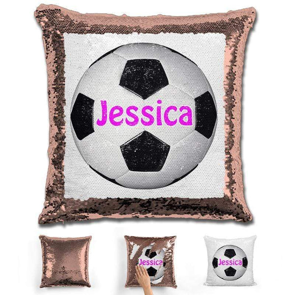 Soccer Personalized Magic Sequin Pillow Pillow GLAM Rose Gold Pink