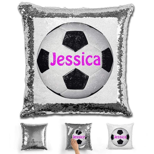 Soccer Personalized Magic Sequin Pillow Pillow GLAM Silver Pink