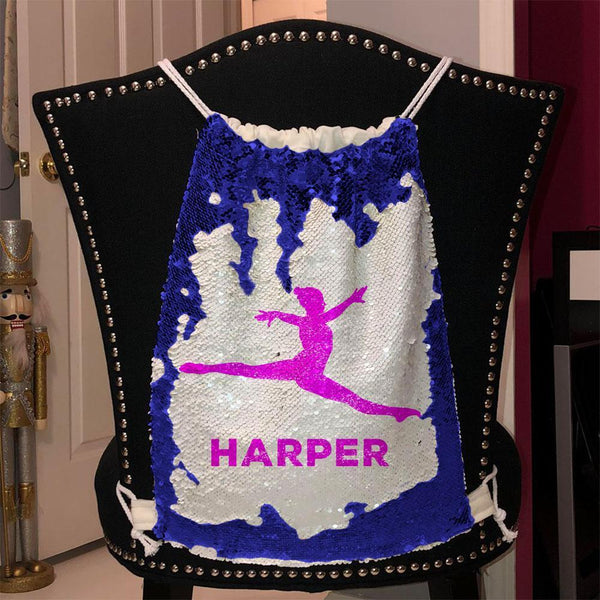 Personalized Dancer Magic Sequin Backpacks Sequin Backpack BLINGZ Blue