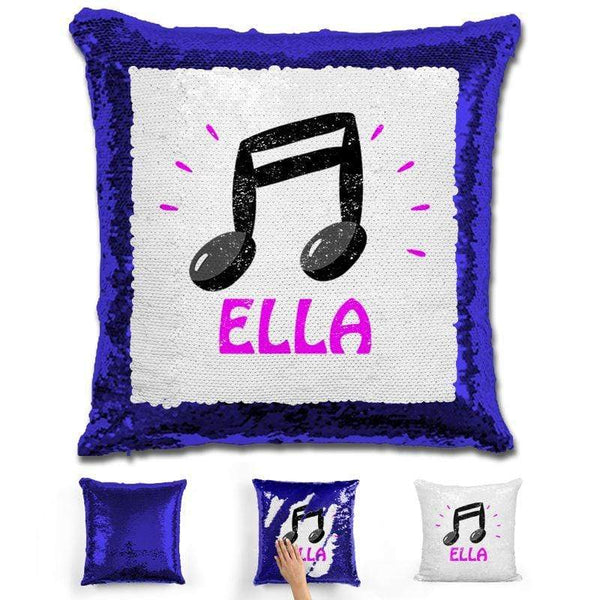 Music Note Personalized Magic Sequin Pillow Pillow GLAM Blue Pink