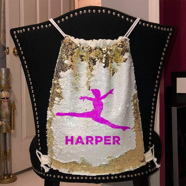 Personalized Dancer Magic Sequin Backpacks Sequin Backpack BLINGZ Gold