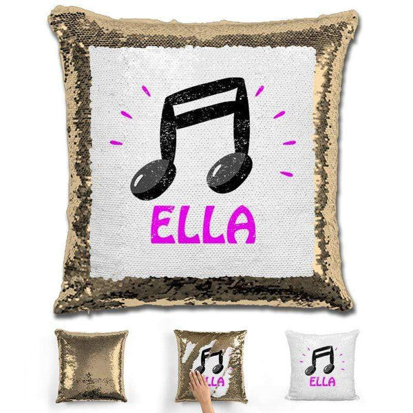 Music Note Personalized Magic Sequin Pillow Pillow GLAM Gold Pink