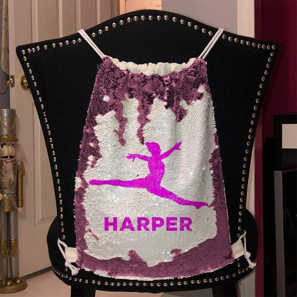 Personalized Dancer Magic Sequin Backpacks Sequin Backpack BLINGZ Pink