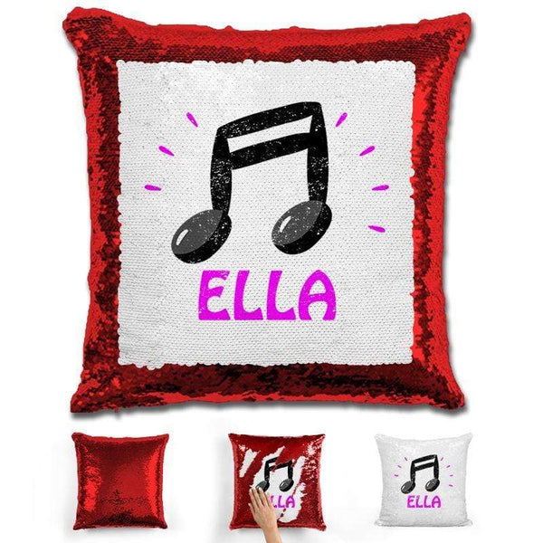 Music Note Personalized Magic Sequin Pillow Pillow GLAM Red Pink