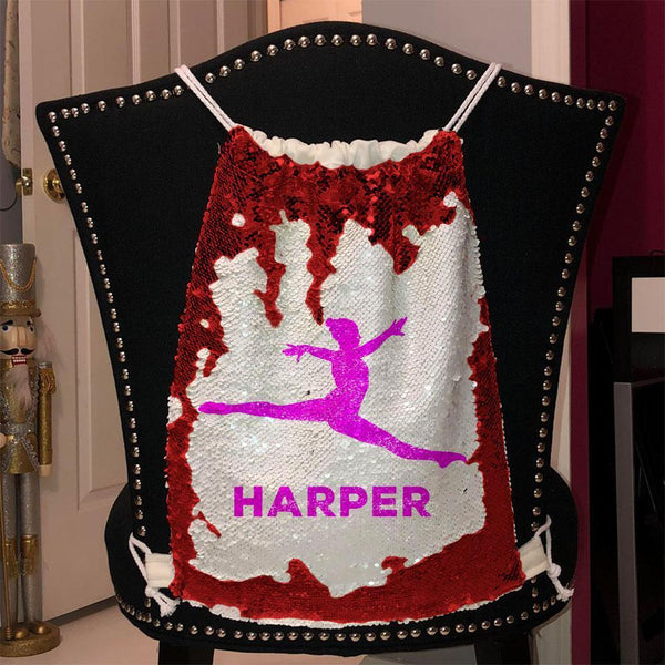 Personalized Dancer Magic Sequin Backpacks Sequin Backpack BLINGZ Red