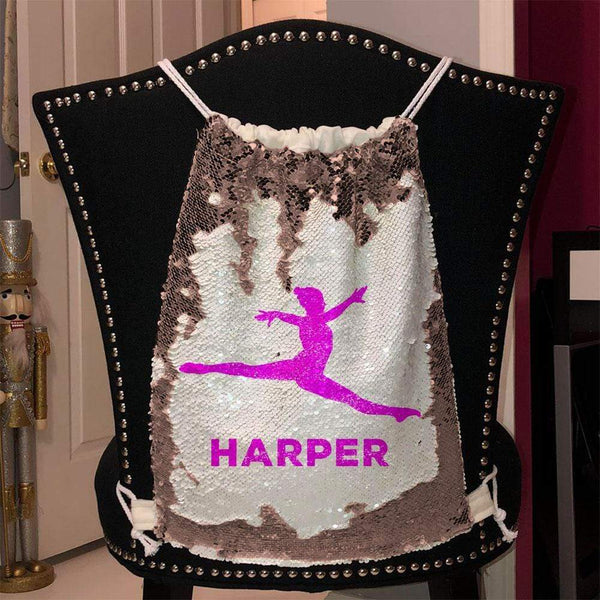 Personalized Dancer Magic Sequin Backpacks Sequin Backpack BLINGZ Rose Gold