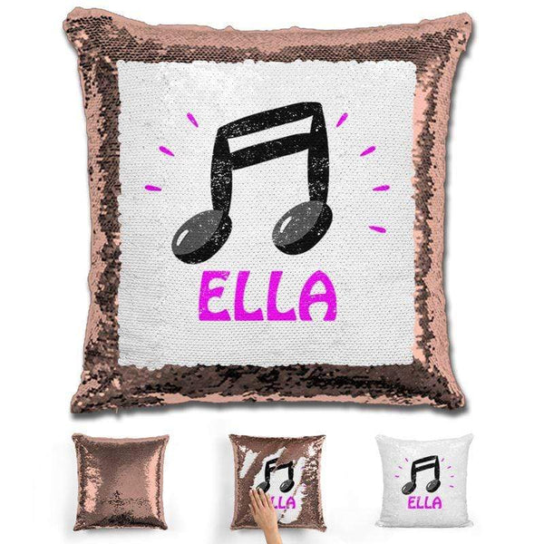 Music Note Personalized Magic Sequin Pillow Pillow GLAM Rose Gold Pink