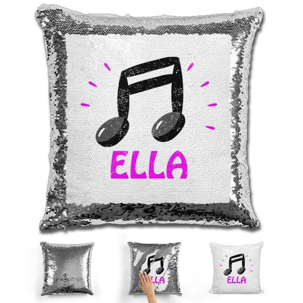 Music Note Personalized Magic Sequin Pillow Pillow GLAM Silver Pink