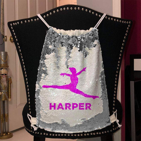 Personalized Dancer Magic Sequin Backpacks Sequin Backpack BLINGZ Silver