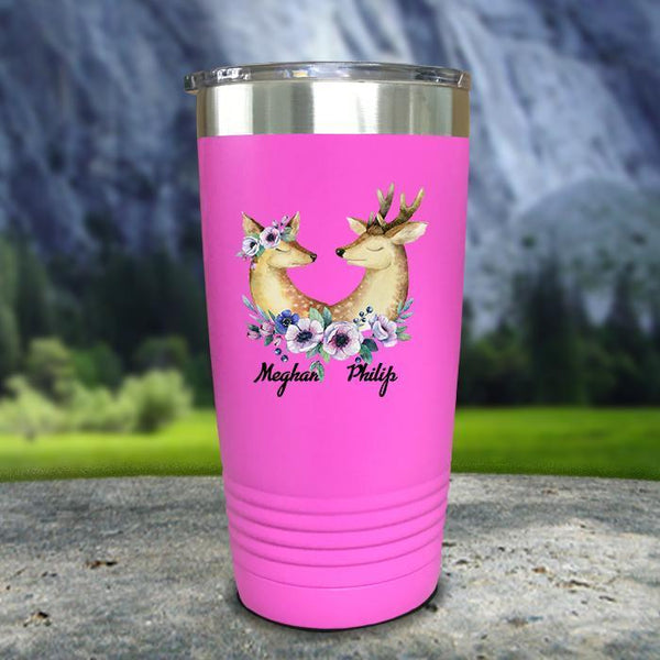 Buck and Doe Personalized Color Printed Tumblers Tumbler Nocturnal Coatings 20oz Tumbler Pink