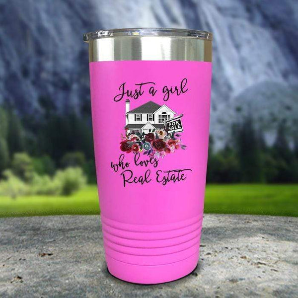 Just A Woman Who Loves Real Estate Color Printed Tumblers Tumbler Nocturnal Coatings 20oz Tumbler Pink
