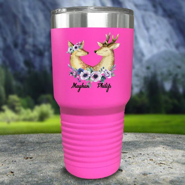 Buck and Doe Personalized Color Printed Tumblers Tumbler Nocturnal Coatings 30oz Tumbler Pink