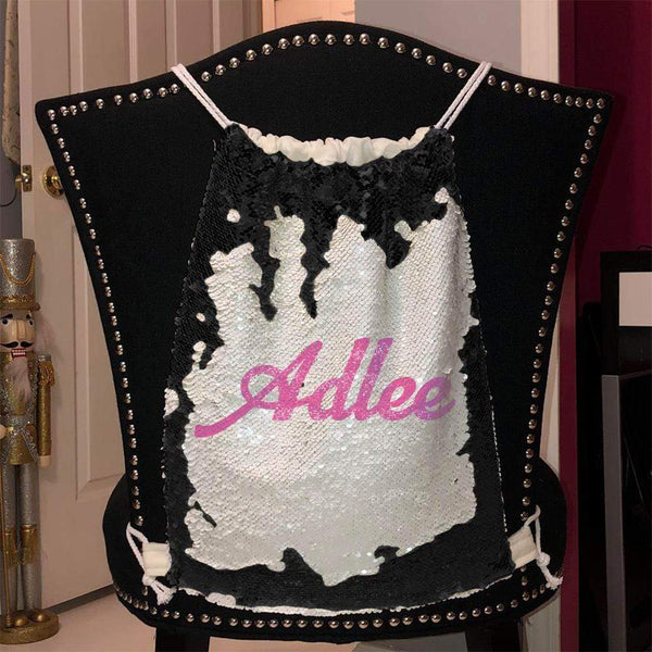 Personalized Magic Sequin Name Backpacks Sequin Backpack BLINGZ Black Pink