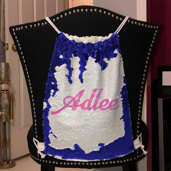 Personalized Magic Sequin Name Backpacks Sequin Backpack BLINGZ Blue Pink