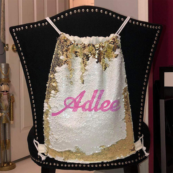 Personalized Magic Sequin Name Backpacks Sequin Backpack BLINGZ Gold Pink